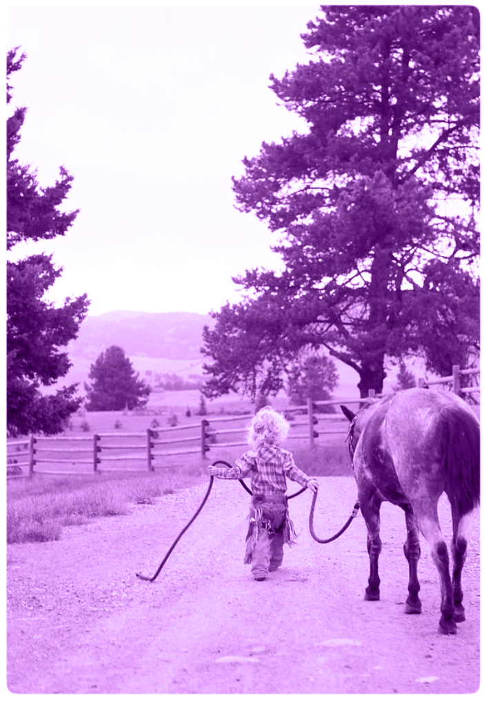 girl with purple horse