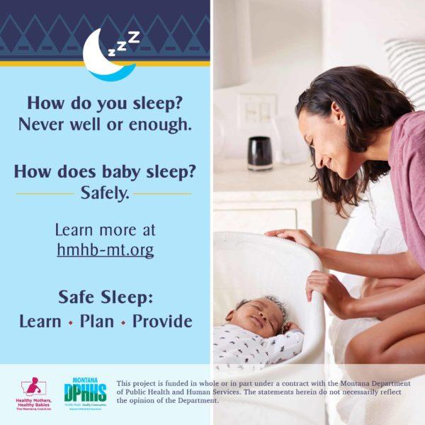 FB safe sleep ad option: How do you sleep? Never well or enough. How does baby sleep? Safely.