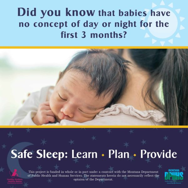 FB safe sleep ad option: Did you know that babies have no concept of day or night for the first 3 months?