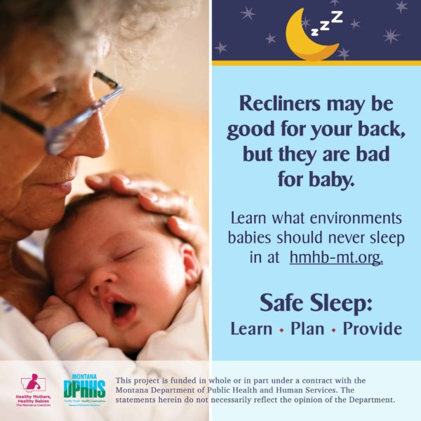 FB safe sleep ad option: recliners may be good for your back, but they are bad for baby.